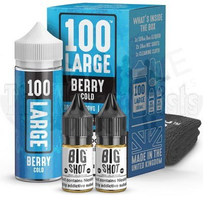 Berry Cold by 100 Large is a hand foraged wild winter berries infused with a fresh and exhilarating ice cold menthol.